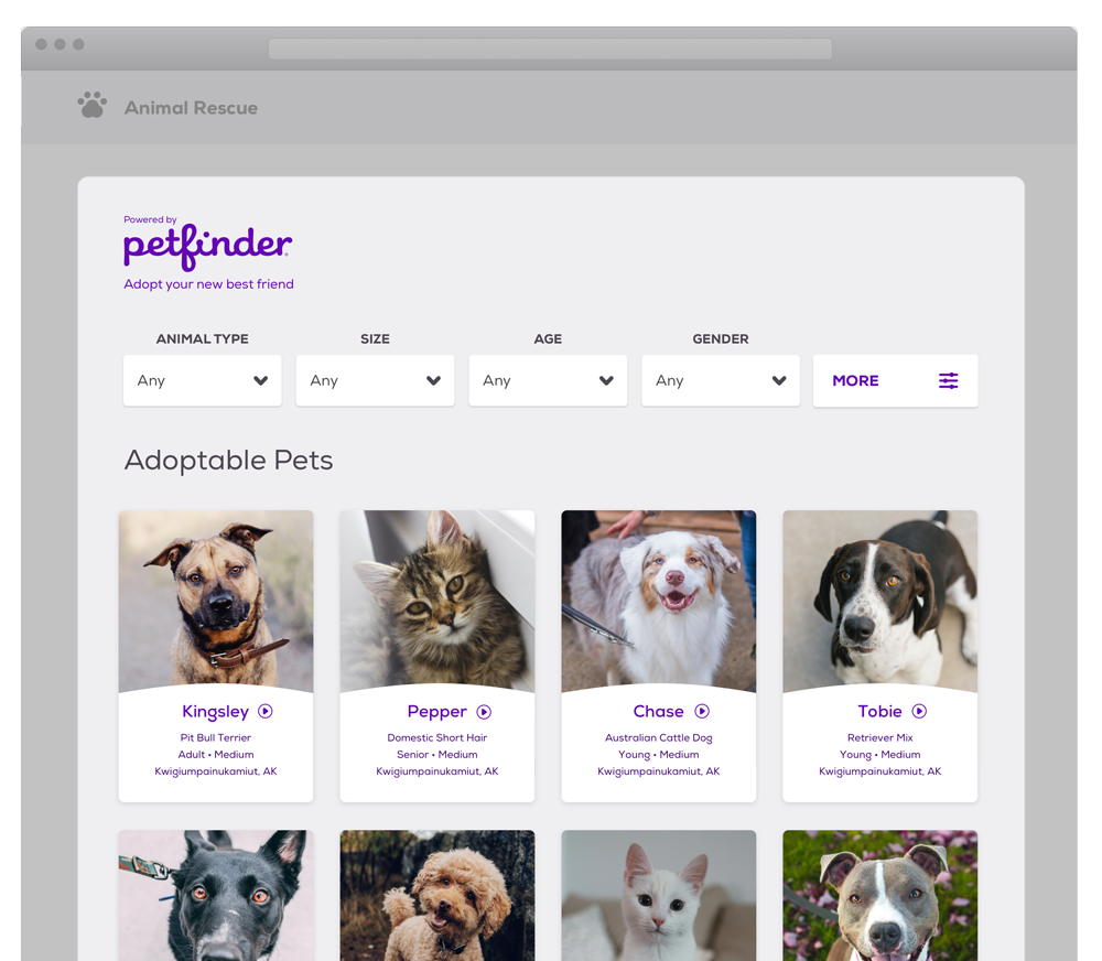 Embeddable pet list screenshot example.