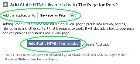adding iframe tabs to facebook